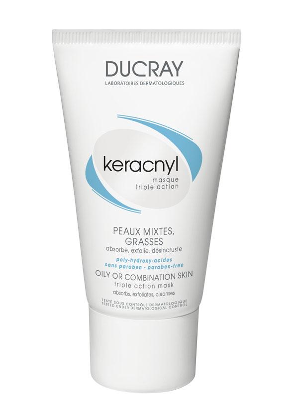 Ducray Маска Keracnyl тройного действия 40 млFS-00897Жирная или комбинированная кожа Маска тройного действия Keracnyl (Керакнил) специально разработанная для жирной или комбинированной кожи и сочетает в себе маску двойного действия и скраб. • Глина абсорбирует излишки кожного сала; • Соединение глины и полигидроксикислот глубоко очищает поры• Микрочастицы полиэтиленового воска оказывают механическое очищающее действие