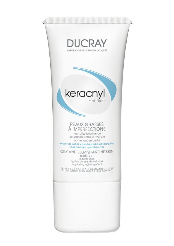 Ducray Матирующая эмульсия Keracnyl 30 мл8858816743251Жирная и проблемная кожа, склонная к акнеМатирующая эмульсия Keracnyl (Керакнил) надолго устраняет жирный блеск, сужает поры и увлажняет кожу.Основные компоненты:• комбинация абсорбирующего порошка и экстракта пальмы Сабаль уменьшает выработку кожного сала и оказывает мгновенный матирующий эффект• комплекс гликолевой и салициловой кислоты оказывают деликатный пилинг кожи и очищает поры.• токоферола ацетат защищает кожу от воздействия свободных радикалов и борется с первыми признаками старения.Ваша кожаостается матовой на протяжении дня. Идеально подходит под макияж.