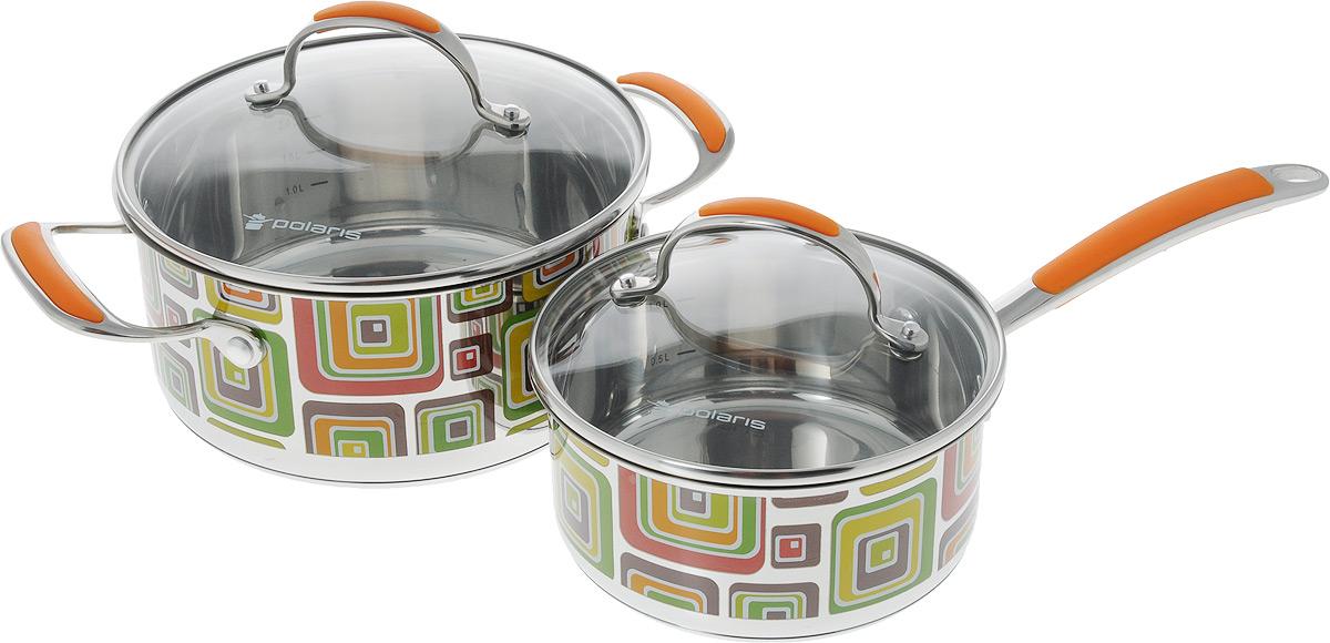 Набор посуды Polaris Fresh Line, 4 предмета54 009312Набор посуды Polaris Fresh Line состоит из кастрюли и ковша с крышками. Изделия изготовлены из высококачественной нержавеющей стали. Крышки изделий выполнены из жаропрочного стекла с отверстием для выхода пара, что позволяет готовить пищу без потери тепла, что сокращает сроки приготовления пищи, максимально сохраняет витамины, микроэлементы и питательные вещества.Удобные ручки, выполненные из стали и силикона, не нагреваются. Рисунок выполнен зеркальной полировкой с мозаичной деколью. Посуда линии Fresh Line - это функциональность, высокое качество, дизайнерские решения, инновации, удобство использования, ухода и хранения.Диаметр кастрюли (по верхнему краю): 21,5 см.Высота кастрюли: 10 см. Ширина кастрюли с учетом ручек: 29,3 см.Объем кастрюли: 2,9 л.Диаметр ковша (по верхнему краю): 17,5 см.Высота ковша: 8 см.Объем ковша: 1,5 л.Длина ручки ковша: 16 см.
