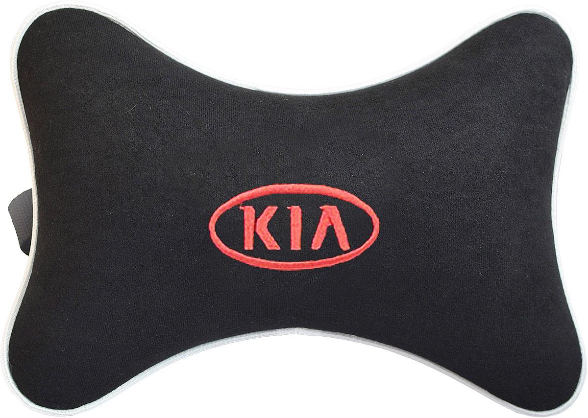 Подушка на подголовник Auto Premium Kia, цвет: черный. 3743137431Подушка на подголовник Auto Premium Kia - это прежде всего лучший способ создать комфорт для шеи и головы во время пребывания в автомобильном кресле. Большинство штатных подголовников устроены так, что до них попросту не дотянуться. Данный аксессуар полностью решает эту проблему, создавая мягкую ортопедическою поддержку. Подушка крепится к сиденью, а это значит один раз поставил - и забыл. Меньше утомляемость - выше внимание и концентрация на дороге. Подушка одинаково удобна для пассажира и водителя. Выполнена из велюра.