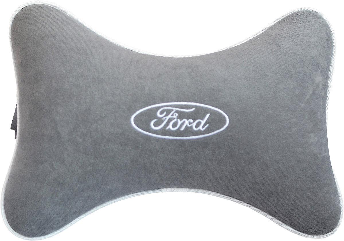 Подушка на подголовник Auto Premium Ford , цвет: серый. 3744437444Подушка на подголовник - это прежде всего лучший способ создать комфорт для шеи и головы во время пребывания в автомобильном кресле. Большинство штатных подголовников устроены так, что до них попросту не дотянуться. Данный аксессуар полностью решает эту проблему, создавая мягкую ортопедическою поддержку. Подушка крепится к сиденью, а это значит один раз поставил - и забыл.Меньше утомляемость - а следовательно выше внимание и концентрация на дороге.Одинакова удобна для пассажира и водителя.Подушка выполнена из велюра.