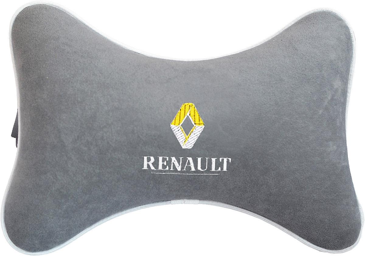Подушка на подголовник Auto Premium Renault, цвет: серый. 374503-13-7-1-1_фиолетовыйПодушка на подголовник - это прежде всего лучший способ создать комфорт для шеи и головы во время пребывания в автомобильном кресле. Большинство штатных подголовников устроены так, что до них попросту не дотянуться. Данный аксессуар полностью решает эту проблему, создавая мягкую ортопедическою поддержку. Подушка крепится к сиденью, а это значит один раз поставил - и забыл.Меньше утомляемость - а следовательно выше внимание и концентрация на дороге.Одинакова удобна для пассажира и водителя.Подушка выполнена из велюра.