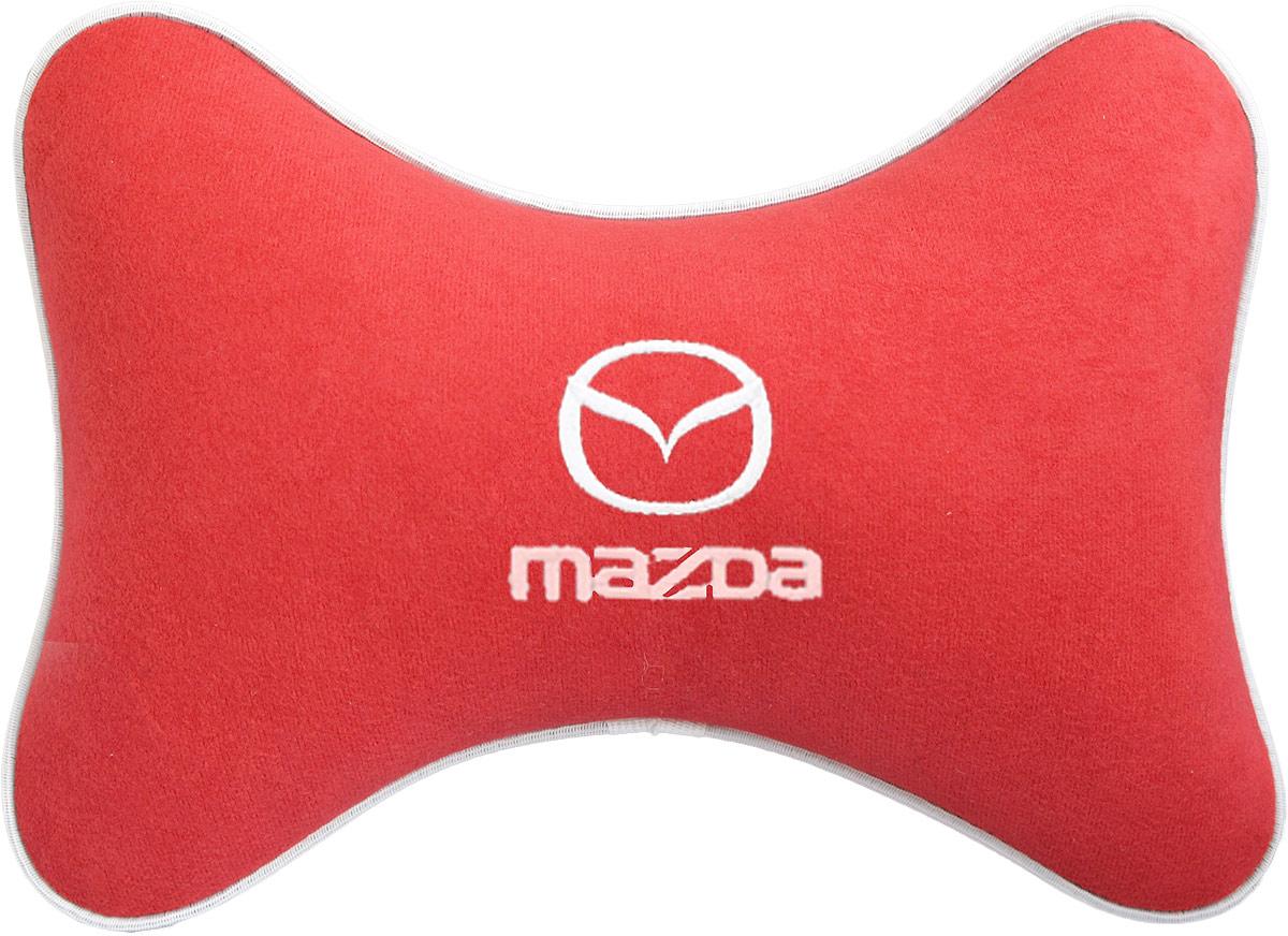 Подушка на подголовник Auto Premium Mazda, цвет: красный. 3746237462Подушка на подголовник - это прежде всего лучший способ создать комфорт для шеи и головы во время пребывания в автомобильном кресле. Большинство штатных подголовников устроены так, что до них попросту не дотянуться. Данный аксессуар полностью решает эту проблему, создавая мягкую ортопедическою поддержку. Подушка крепится к сиденью, а это значит один раз поставил - и забыл.Меньше утомляемость - а следовательно выше внимание и концентрация на дороге.Одинакова удобна для пассажира и водителя.Подушка выполнена из велюра.