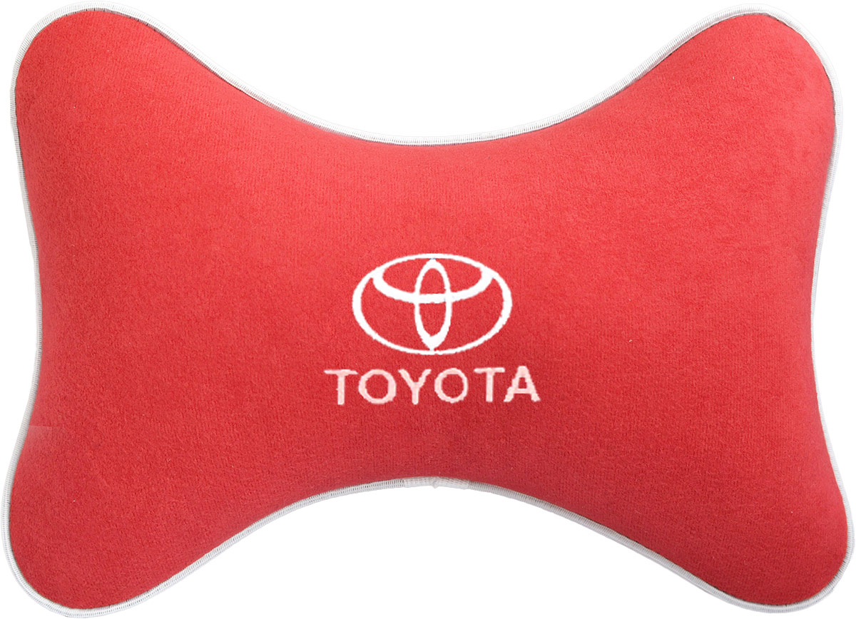 Подушка на подголовник Auto Premium Toyota, цвет: красный. 37469300159Подушка на подголовник, выполненная из велюра - это прежде всего лучший способ создать комфорт для шеи и головы во время пребывания в автомобильном кресле. Подушка крепится к сиденью. Меньше утомляемость - а следовательно выше внимание и концентрация на дороге.Одинакова удобна для пассажира и водителя.