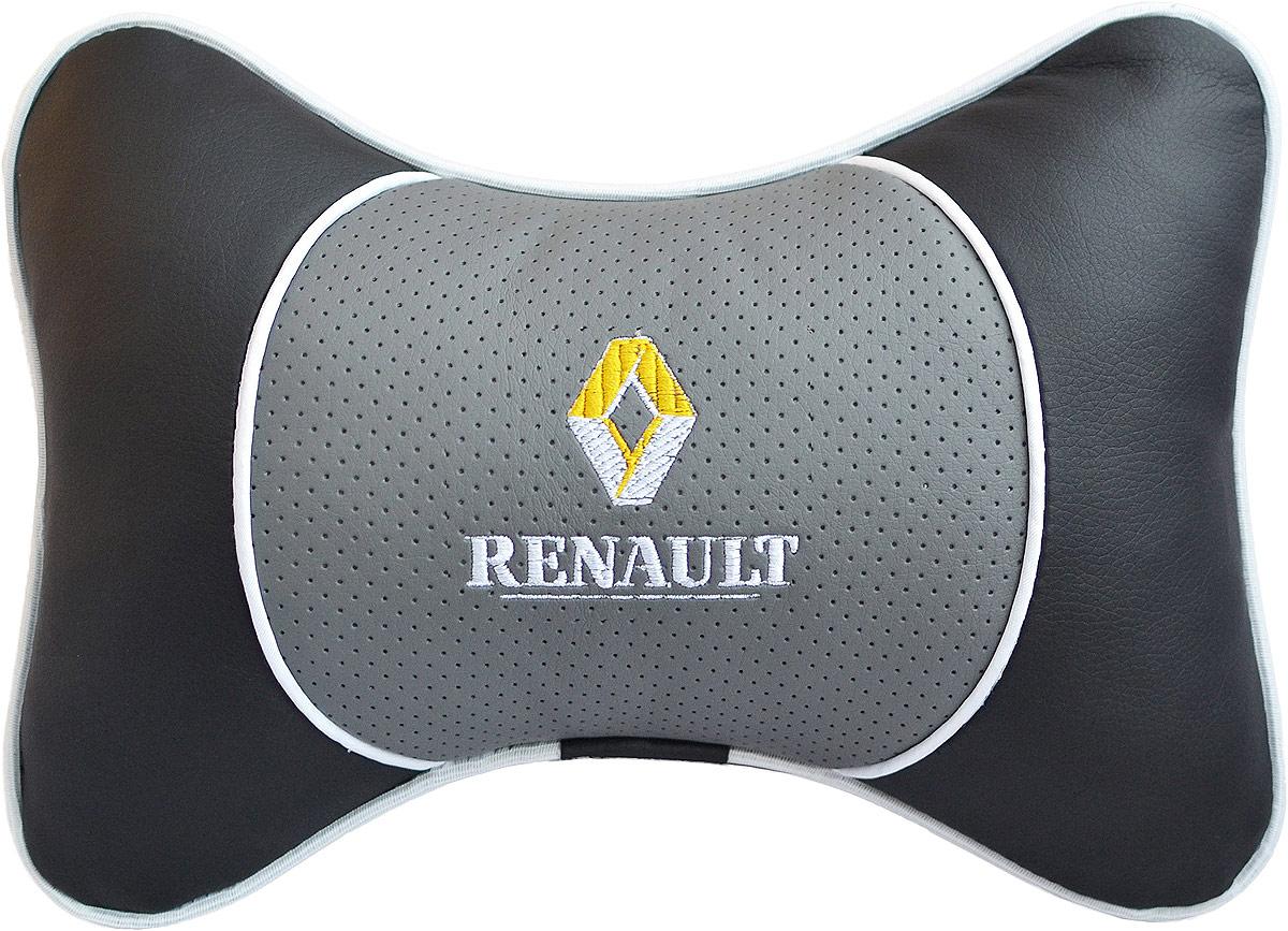 Подушка на подголовник Auto Premium Renault, цвет: серый. 3755094672Подушка на подголовник Люкс выполнена из черной гладкой экокожи, вставка из серой перфорированной экокожи имеет обрамление мягким кантом. Для нанесения вышивки используются высококачественные итальянские нитки. Подушка на подголовник - это прежде всего лучший способ создать комфорт для шеи и головы во время пребывания в автомобильном кресле. Такая подушка будет удобна как водителю, так и пассажиру. При производстве используются высококачественные, износостойкие материалы и гипоаллергенные наполнители.