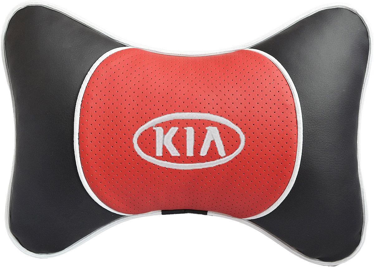 Подушка на подголовник Auto Premium Kia, цвет: красный, черный. 3757137571Подушка на подголовник Auto Premium. Люкс выполнена из черной гладкой экокожи, вставка из красной перфорированной экокожи имеет обрамление мягким кантом. Для нанесения вышивки используются высококачественные итальянские нитки. Экокожа - это дышащий материал, который имеет повышенный ресурс и прочность. Легко чистится влажной тряпкой, не требует стирки, не впитывает пыль и грязь. Подушка на подголовник - это лучший способ создать комфорт для шеи и головы во время пребывания в автомобильном кресле. Большинство штатных подголовников устроены так, что до них попросту не дотянуться. Данный аксессуар полностью решает эту проблему, создавая мягкую ортопедическою поддержку. Особенности: - Подушка крепится к сиденью, а это значит один раз поставил - и забыл. - Меньше утомляемость - а следовательно выше внимание и концентрация на дороге. - Одинакова удобна для пассажира и водителя.