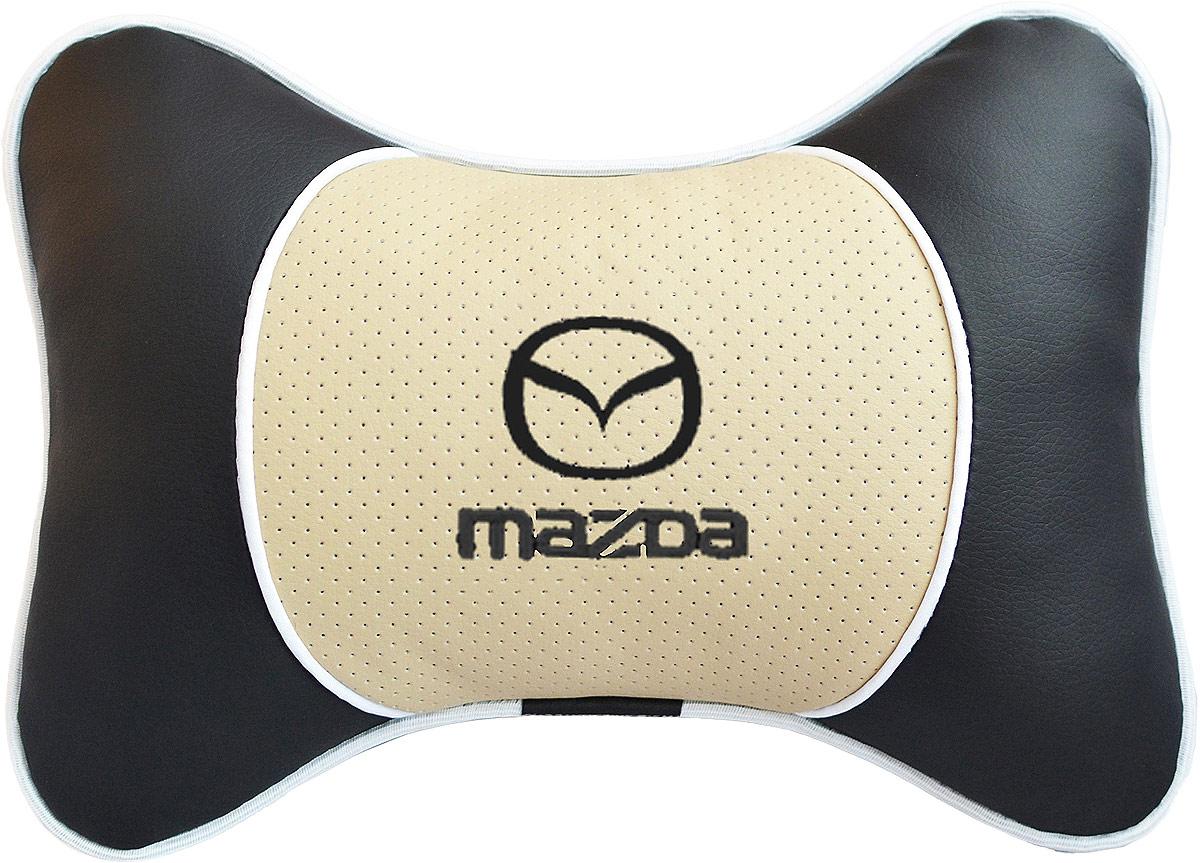 Подушка на подголовник Auto Premium Mazda, цвет: бежевый. 3758237546Подушка на подголовник Люкс выполнена из черной гладкой экокожи, вставка из бежевой перфорированной экокожи имеет обрамление мягким кантом. Для нанесения вышивки используются высококачественные итальянские нитки. Подушка на подголовник - это прежде всего лучший способ создать комфорт для шеи и головы во время пребывания в автомобильном кресле. Такая подушка будет удобна как водителю, так и пассажиру. При производстве используются высококачественные, износостойкие материалы и гипоаллергенные наполнители.