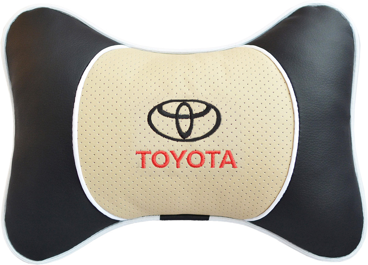 Подушка на подголовник Auto Premium Toyota, цвет: бежевый. 3758937551Подушка на подголовник Люкс выполнена из черной гладкой экокожи, вставка из бежевой перфорированной экокожи имеет обрамление мягким кантом. Для нанесения вышивки используются высококачественные итальянские нитки. Подушка на подголовник - это прежде всего лучший способ создать комфорт для шеи и головы во время пребывания в автомобильном кресле. Такая подушка будет удобна как водителю, так и пассажиру.