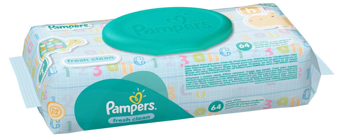 Pampers Детские влажные салфетки Baby Fresh Clean 64 штMFM-3101Каждый малыш нуждается в нежном очищении, именно поэтому влажные салфетки Pampers Fresh Clean с дополнительным увлажнением позволяют бережно заботиться о детской коже. Благодаря своей уникальной мягкой текстуре SoftGrip, они очищают кожу малыша еще нежнее, чем раньше, поддерживая естественный уровень pH, облегчая мамам смену подгузника. Не бойтесь сюрпризов с Pampers Fresh Clean!Преимущества:Мягкие и прочные для нежного очищения; уникальная мягкая текстура SortGrip; поддерживают естественный уровень pH; дерматологически протестированы; с новым освежающим ароматом.Товар сертифицирован.