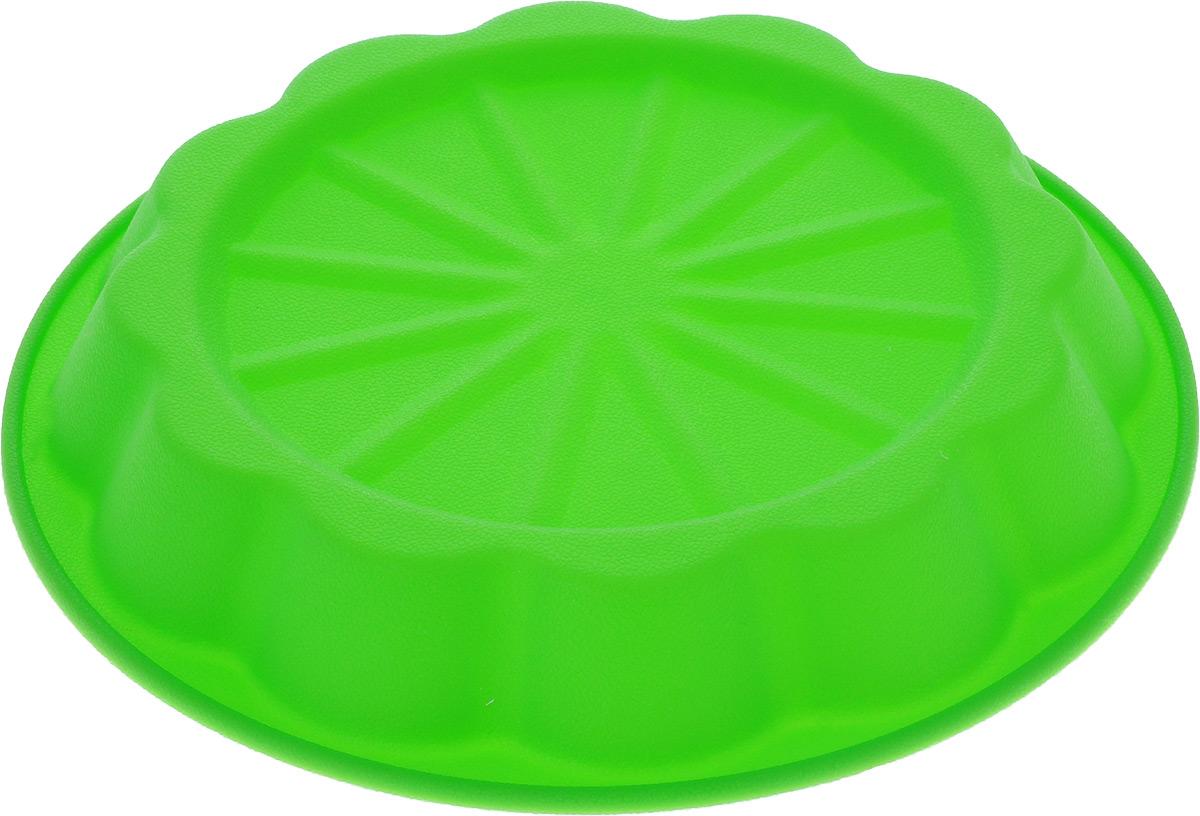 Форма для выпечки Marmiton Апельсин, силиконовая, цвет: зеленый, диаметр 24,5 см94672Форма Marmiton Апельсин выполнена из силикона, благодаря этому выпечку вынимать легко и просто. Материал устойчив к фруктовым кислотам, может быть использован в духовках и микроволновых печах.Такая форма идеальна для приготовления разнообразной выпечки, льда, конфет, желе, запеканок, шоколада, пудингов. Изделие выдерживает температуру от -40°С до +240°С. Можно мыть и сушить в посудомоечной машине.Диаметр (по верхнему краю): 24,5 см.Диаметр дна: 19 см.Высота стенки: 3,5 см.