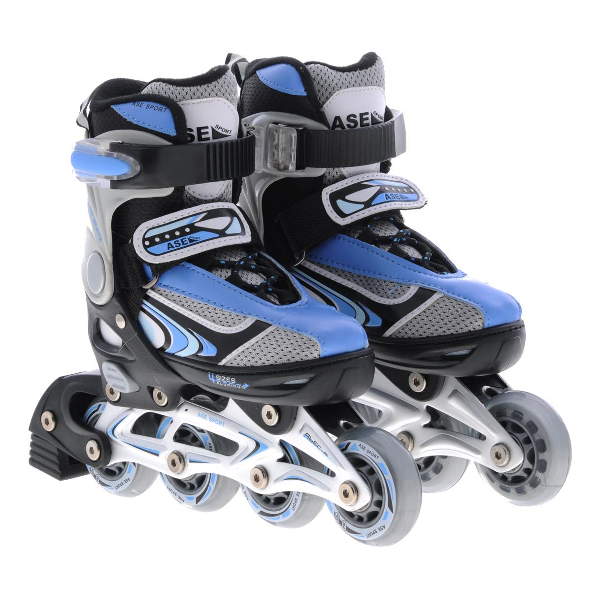Коньки роликовые Ase-Sport, раздвижные, цвет: черный, синий. ASE-626В. Размер S (33/36)ASE-626B-1Верх сапожка изготовлен из современного синтетического материала, стойкого к внешним воздействиям. Внутри сапожка отделка сделана из мягкого синтетического материала с мягкой подкладкой в боковых частях для более удобной и надежной фиксации ноги во время катания. Застежка типа AUTO LOCK удобно регулируется на нужный размер. Система изменения размера корпуса (кнопка) проста в использовании, позволяет быстро и комфортно подогнать сапожок под ногу. Корпус коньков изготовлен из прочного пластика, стойкого к механическим нагрузкам и внешним воздействиям окружающей среды. Ударопрочная пластиковая силовая манжета. Алюминиевая рама дает дополнительную прочность и скорость отталкивания во время катания. Стельки сделаны из специального вспененного материала, который удобно повторяет анатомическое строение стопы ноги и дополнительно поглощает вибрацию. Шнуровка коньков: матерчатые петли в сочетании с широким язычком, шнурки из полиэстера с синтетическими волокнами для более прочной фиксации ноги. Ролики комплектуются тормозом, колесами класса жесткости 82А, точность подшипников ABEC-5.