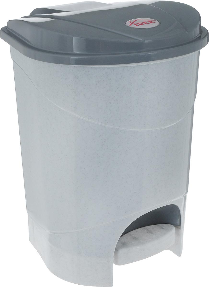 Контейнер для мусора Idea, с педалью, цвет: серый мрамор, 7 л238000Контейнер для мусора Idea изготовлен из прочного полипропилена. Контейнер оснащен педалью, с помощью которой можно открыть крышку.Закрывается крышка практически бесшумно. Плотно прилегающая крышка, предотвращая распространение запаха.Внутри пластиковая емкость для мусора, которую при необходимости можно достать из контейнера.Благодаря лаконичному дизайну такой контейнер идеально впишется в интерьер дома и офиса.Размер контейнера: 24 х 24 х 29 см.