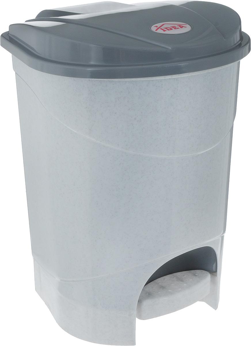 Контейнер для мусора Idea, с педалью, цвет: мраморный, серый, 11 лМ 2891_серый мраморМусорный контейнер Idea, выполненный из прочного полипропилена, оснащен педалью, спомощью которой можно открытькрышку. Закрывается крышка практически бесшумно, плотно прилегает, предотвращаяраспространение запаха. Внутри пластиковая емкость для мусора, которую при необходимостиможно достать из контейнера. Интересный дизайн разнообразит интерьер кухни и сделает его более оригинальным.Размер контейнера: 30 х 30 х 33,5 см.