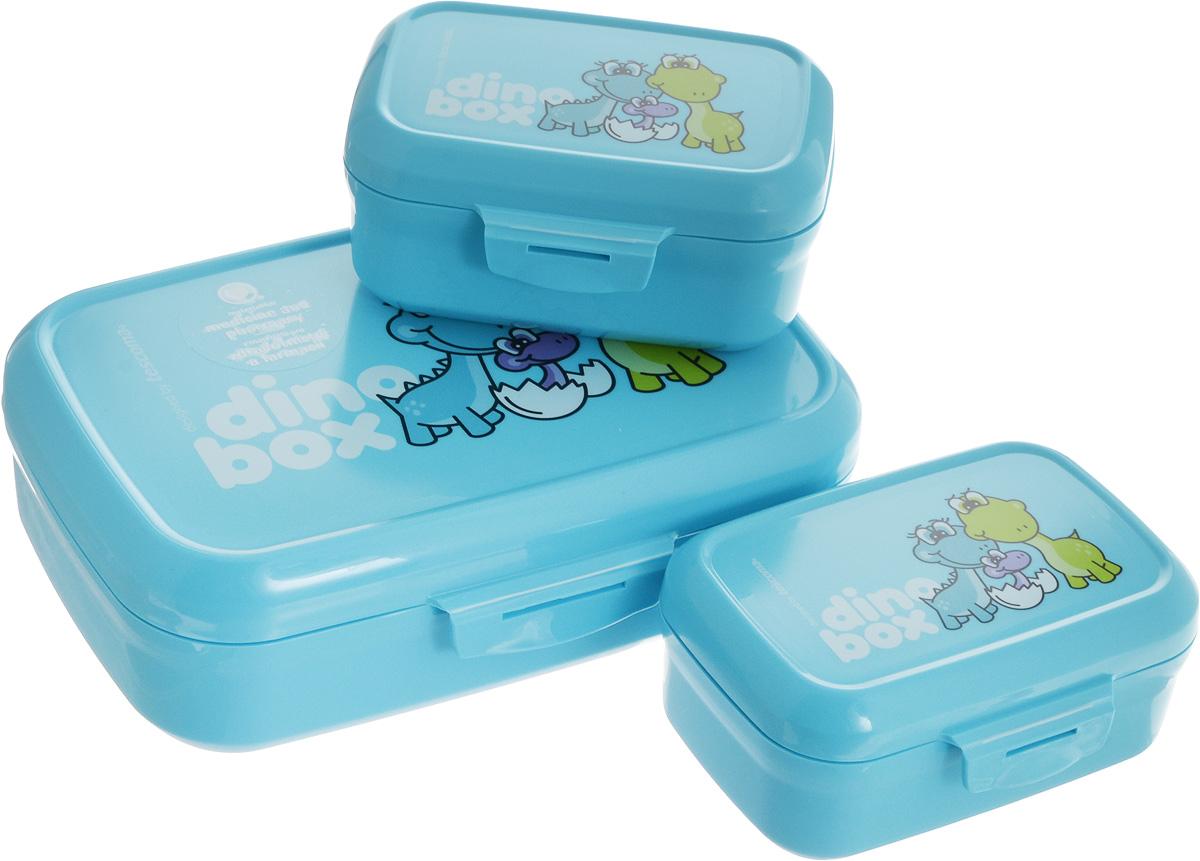 Набор контейнеров Tescoma Dino, цвет: голубой, 3 шт668330.30Набор Tescoma Dino состоит из трех контейнеров. Изделия выполнены из высококачественного пластика и оформлены изображением динозавров, которое обязательно оценят дети.Контейнеры предназначены для хранения и дальнейшей переноске закусок и легких обедов в школу, в поездку или на тренировку. Два небольших контейнера легко помещаются в самый большой, что экономит пространство при хранении на кухне. Можно мыть в посудомоечной машине.Размер большого контейнера: 20 х 13 х 6,5 см.Размер одного малого контейнера: 12 х 8,5 х 6 см.