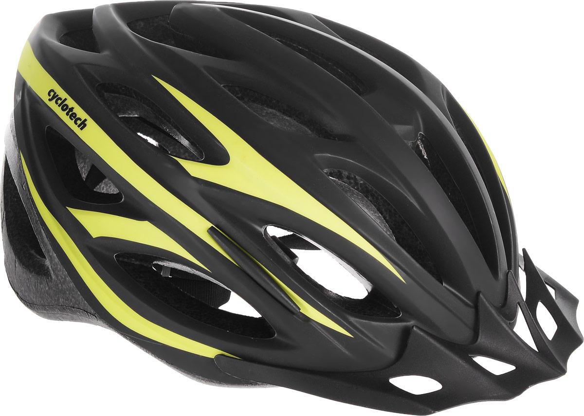 Шлем велосипедный Cyclotech, цвет: черный, зеленый. Размер LZ90 blackМужской велосипедный шлем Cyclotech изготовлен по технологии OutMold, которая обеспечивает хорошее сочетание невысокой цены и достаточной технологичности. Увеличенное количество вентиляционных отверстий гарантирует отличную циркуляцию воздуха при любой скорости передвижения, сохраняя при этом жесткость шлема. Шлем соответствует международным стандартам безопасности и надежности. Шлем выполнен из прочного вспененного пенопласта.Обхват головы: 55-59 см