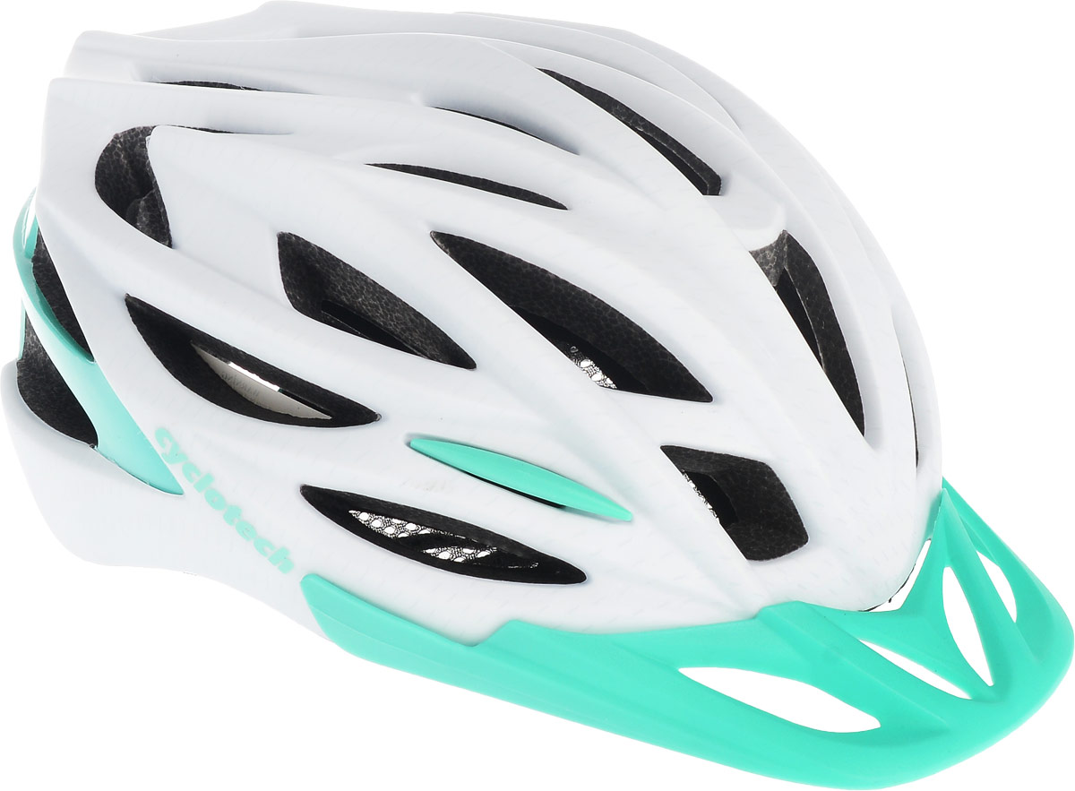 Шлем велосипедный Cyclotech, цвет: белый, изумрудный. Размер MZ90 blackЖенский велосипедный шлем продвинутого уровня Cyclotech изготовлен по современной технологии Inmold. За счет применения данной технологии шлем становится значительно более устойчивым к боковым и фронтальным ударам, как тупыми, так и острыми предметами (камни, скальные породы). Улучшенная система вентиляции. Шлем соответствует международным стандартам безопасности и надежности.Обхват головы: 54-58 см.