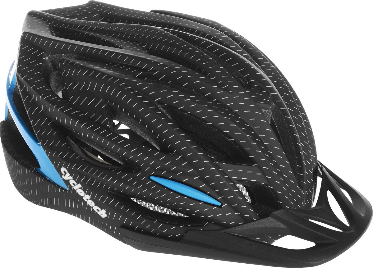 Шлем велосипедный Cyclotech, цвет: черный, синий. Размер LCHLI16MМужской велосипедный шлем продвинутого уровня Cyclotech изготовлен по современной технологии Inmold. За счет применения данной технологии шлем становится значительно более устойчивым к боковым и фронтальным ударам, как тупыми, так и острыми предметами (камни, скальные породы). Улучшенная система вентиляции. Шлем соответствует международным стандартам безопасности и надежности.Обхват головы: 58-62 см.