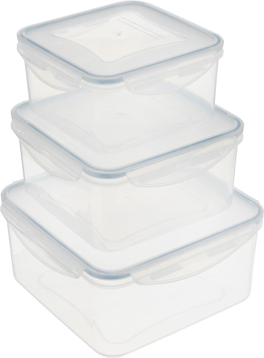 Контейнер Tescoma Freshbox, 3 шт. 892042VT-1520(SR)Набор пластиковых контейнеров Tescoma Freshbox подходит для переноски и хранения любых продуктов питания. Благодаря многообразию объемов, вы можете подобрать свой. Изделия абсолютно герметичны, способны выдержать сильные перепады температур. Пластик и силикон, из которых изготовлены контейнеры, переносят экстремальные температурные режимы в диапазоне от -18°C до +110°C. Такие контейнеры оптимально сохраняют вкус, аромат и внешний вид продуктов.Подходят для холодильника, морозильных камер, микроволновой печи и посудомоечной машины.Размер контейнеров (с учетом крышек): 15,5 х 15,5 х 8 см; 17,5 х 17,5 х 9 см; 20,5 х 20,5 х 10 см.Объем контейнеров: 1,2 л; 2 л; 3 л.