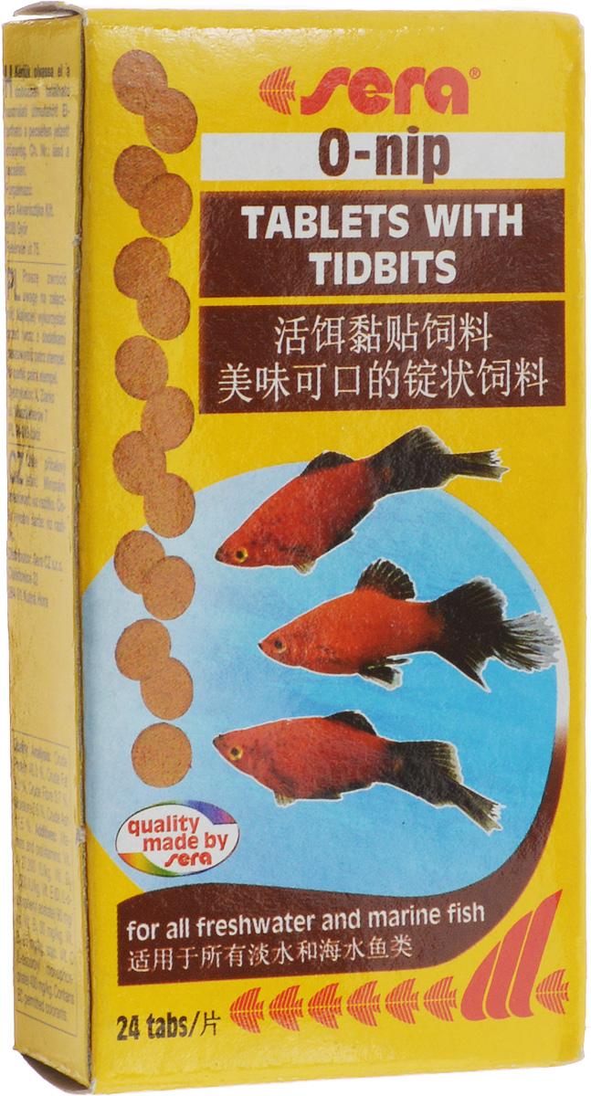 Корм для рыб Sera O-Nip, таблетированный, 24 таблетки0120710Таблетированный корм для рыб Sera O-Nip произведен путем бережной обработки сырья. Таблетка прикрепляется к стеклянной стенке аквариума легким прижатием пальца. Это позволяет наблюдать за процессом кормления рыб. Высокое содержание кормовых организмов делает таблетки особенно вкусными и полезными для оптимального питания рыб.Ингредиенты: рыбная мука, пшеничная мука, пивные дрожжи, казеинат кальция, сухое молоко, криль (4,9%), красный мотыль (4,2%), гаммарус (2,6%), трубочник (2,1%), сахар, цельный яичный порошок, спирулина, морские водоросли, маннанолигосахариды (0,4%), жир из печени рыбы (в т.ч. 34% Омега жирных кислот), растительное сырье, люцерна, крапива, петрушка, зеленые мидии, паприка, водоросль гематококкус, шпинат, морковь, чеснок. Содержит пищевые красители допустимые в ЕС.Товар сертифицирован.
