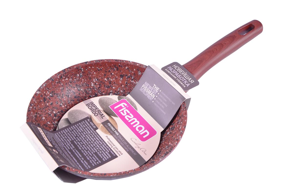 Сковорода Fissman Imperial Bordo, с антипригарным покрытием. Диаметр 20 см74-0120Сковорода Fissman Imperial Bordo изготовлена из литого алюминия с многослойным антипригарным покрытием EcoStone, которое усилено вкраплением каменных частиц. Первый слой улучшает сцепление покрытия с металлом, второй слой - грунтовый, третий слой - более прочное покрытие на основе минеральных компонентов, четвертый слой - высокопрочное антипригарное покрытие, усиленное вкраплением каменных частиц, пятый дополнительный антипригарный слой с керамическими частицами. Главное преимущество покрытия - это устойчивость к царапинам и износу. Также покрытие безопасно для здоровья человека и окружающей среды. Утолщенное дно сковороды рационально распределяет тепло, что позволяет продуктам готовиться быстро и равномерно. Приятная на ощупь ручка из бакелита не нагревается и не скользит в руках. Посуда серии Imperial Bordo - это уникальный модный дизайн и непревзойденное качество. Подходит для газовых, электрических, стеклокерамических, индукционных плит. Можно мыть в посудомоечной машине. Высота стенок: 4,5 см. Длина ручки: 17 см.