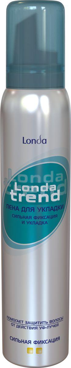 Londatrend Пена для укладки волос Сильная фиксация 200 млMP59.4DПена для укладки волос Londa Trend сильной фиксации обеспечивает упругую и надежную фиксацию укладки на весь день. Формула пены для укладки Londa Trend позволяет создать желаемую укладку защищая волосы от сухости, ломкости и действия УФ-лучей. Придаст блеск вашим волосам.