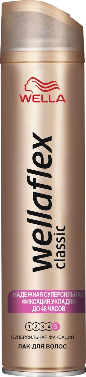 Wellaflex Лак для волос Classic суперсильной фиксации 250 мл1970456ЛАК ДЛЯ ВОЛОС WELLAFLEX СУПЕРСИЛЬНОЙ ФИКСАЦИИ с технологией Гибкой Фиксации TMЛак для волос Wellaflex суперсильной фиксации обеспечивает идеальную естественную укладку с улучшенной фиксацией, которая держится до 24 часов.Он быстро высыхает, не пересушивая волосы, легко удаляется при расчесывании и защищает волосы от воздействия солнечных лучей.