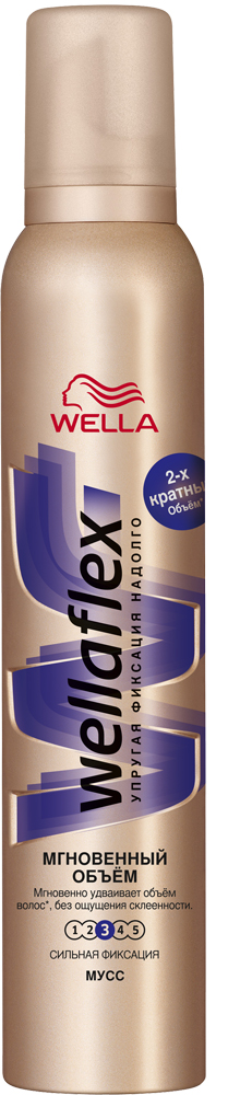 Wellaflex Мусс для волос Мгновенный объем сильной фиксации 200 млWF-81430242Мусс Wellaflex «Мгновенный объем» – это инновационное средство для укладки нового поколения, насыщенное кислородом. Саша Бройер рекомендует использовать мусс для достижения головокружительного объема: «Когда мы говорим об объемных прическах, то мусс для укладки хорошего качества – это must have. Мусс Wellaflex Мгновенный объем – это просто удивительное средство. Он оставляет волосы такими мягкими и объемными, что никто не догадается, что ваша прическа – это результат укладки».Формула мусса «Мгновенный объем» содержит lift-частницы сферической формы, которые заполняют пустоты между каждым волосом, мгновенно делая их объемнее в 2 раза*. Мусс не склеивает и не сушит волосы, оставляя их легкими и подвижными.