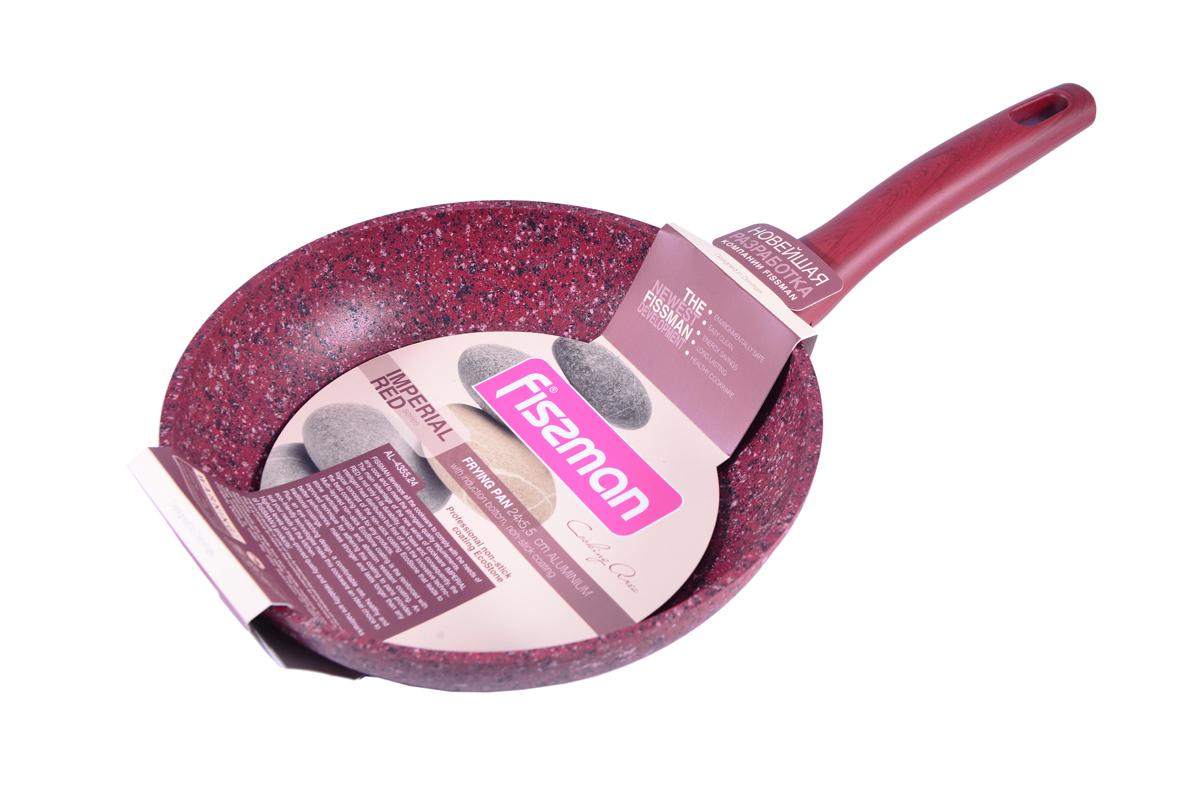 Сковорода Fissman Imperial Red, с антипригарным покрытием. Диаметр 24 см54 009312Сковорода Fissman Imperial Red изготовлена из литого алюминия с многослойным антипригарным покрытием EcoStone, которое усилено вкраплением каменных частиц. Первый слой улучшает сцепление покрытия с металлом, второй слой - грунтовый, третий слой - более прочное покрытие на основе минеральных компонентов, четвертый слой - высокопрочное антипригарное покрытие, усиленное вкраплением каменных частиц, пятый дополнительный антипригарный слой с керамическими частицами. Главное преимущество покрытия - это устойчивость к царапинам и износу. Также покрытие безопасно для здоровья человека и окружающей среды. Утолщенное дно сковороды рационально распределяет тепло, что позволяет продуктам готовиться быстро и равномерно. Приятная на ощупь ручка из бакелита не нагревается и не скользит в руках. Посуда серии Imperial Red - это уникальный модный дизайн и непревзойденное качество. Подходит для газовых, электрических, стеклокерамических, индукционных плит. Можно мыть в посудомоечной машине. Высота стенок: 5,5 см. Длина ручки: 19 см.