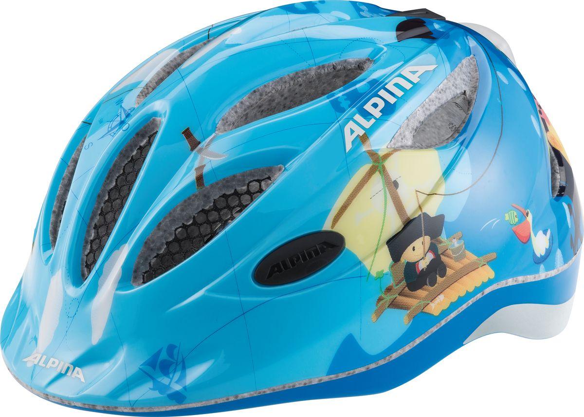 Шлем летний Alpina Gamma 2.0 Flash pirate, цвет: голубой. Размер 46-51Z90 blackНаилучшая защита для маленьких велосипедистов- это шлем Alpina Gamma 2.0 Flash pirate.Размер:46-51 см.