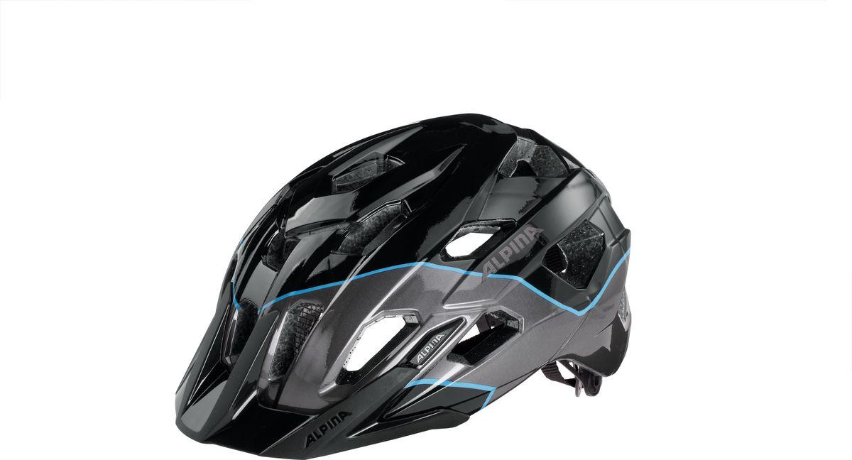 Шлем летний Alpina Yedon, цвет: черный, синий. Размер 57-62WRA523700Спортивный шлем Alpina Yedon для велосипедистов. 17 вентиляционных отверстий.Безопасность:Оболочка Inmold Производственный процесс заключается в нагревании до высокой температуры внешней поликарбонатной оболочки и запекании ее на EPS-тело шлема под высоким давлением. Этот процесс создает неразрывную связь по всей поверхности между внутренней и внешней оболочками, благодаря этому шлем получается не только очень легким, но и чрезвычайно стабильным.Hi-EPS Внутренняя оболочка выполнена из Hi-EPS (вспененный полистирол). Этот материал состоит из множества микроскопических воздушных камер, которые эффективно поглощают силу удара. Hi-EPS обеспечивает оптимальную защиту в сочетании с экстратонкими стенками.Ceramic Материал объединяет несколько преимуществ: устойчив к ударам и царапинам, содержит ультрафиолетовые стабилизаторы и антистатичен.Эргономика: Run System Classic Если вы используете свой велосипед для того, чтобы съездить по магазинам, вам не нужна сложная система регулировки. Система подгонки Run System Classic отвечает этим требованиям красивым, простым и надежным колесом регулировки. Система Run System Classic проста в использовании и держит шлем надежно, там где он должен быть - на голове.Y-Clip Шлем может обеспечить правильную защиту, только если он остается на месте в случае удара. Крепление, которое соединяет две полоски под ухом имеет решающее значение в этом случае. Система Y-Clip Alpina гарантирует идеальную подгонку до последнего миллиметра за считанные секунды.Ergomatic Проверенная бесчисленное количество раз, эта пряжка используется во всех шлемах Alpina. Из особенностей: красная кнопка приводящая в действие механизм автоматической многоступенчатой регулировки. Пряжку можно расстегнуть или застегнуть одной рукой, так, например, вы можете ослабить ремень при езде в гору, и затянуть его снова на спуске. Ergomatic не расстегнется самопроизвольно в случае падения или аварии.Комфорт:Fly Net.