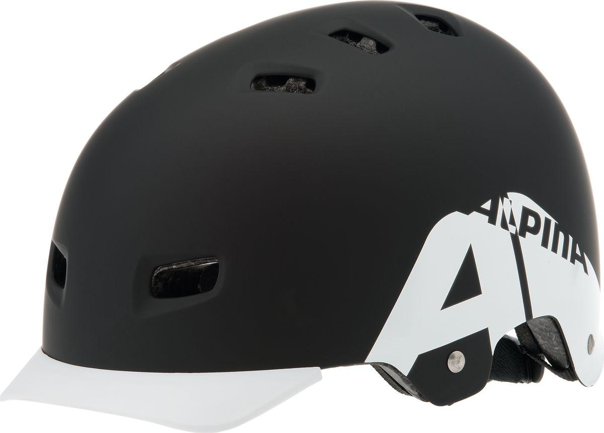 Шлем летний Alpina Alpina Park, цвет: белый, черный. Размер 54-59A9679131Отличный шлем Alpina Park для паркового катания. Жесткая пластиковая скорлупа устойчива к многократным ударам, свежая графика и съемный козырек. Технологии: Сeramic shell, Run System Classic