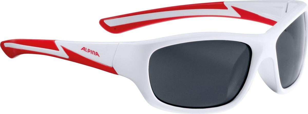 Очки солнцезащитные Alpina Flexxy Youth, детские, цвет: белый, красный. 85644108564410Детские солнцезащитные очки Alpina Flexxy Youth с устойчивыми к разбиванию линзами выполнены из пластика и предназначены как для езды на велосипеде, так и для многих других видов спорта.Линзы обеспечивают управление воздушными потоками, ветер не попадает в глаза во время гонок, а также предотвращают запотевание и защищают от ультрафиолетовых излучений.