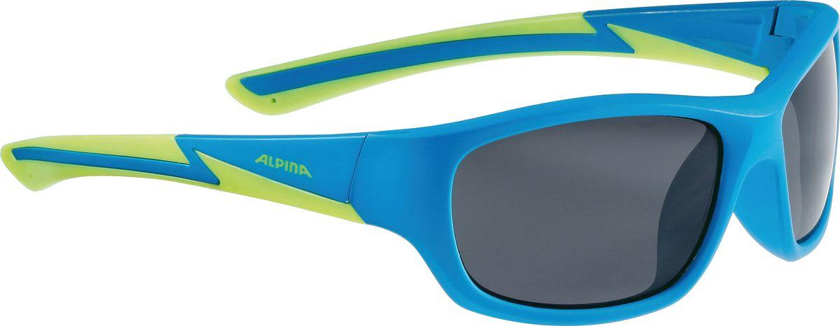 Очки солнцезащитные Alpina Flexxy Youth, детские, цвет: синий, салатовый. 8564481ASE-611FДетские солнцезащитные очки Alpina Flexxy Youth с устойчивыми к разбиванию линзами выполнены из пластика и предназначены как для езды на велосипеде, так и для многих других видов спорта.Линзы обеспечивают управление воздушными потоками, ветер не попадает в глаза во время гонок, а также предотвращают запотевание и защищают от ультрафиолетовых излучений.