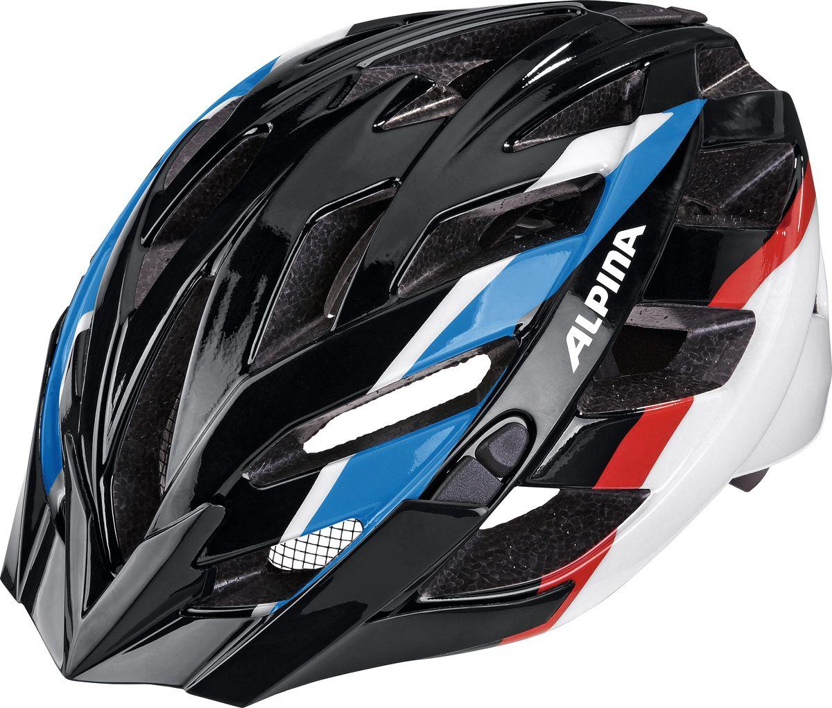 Шлем летний Alpina Panoma, цвет: черный, синий, красный. A9665136. Размер 52/57A9665136Классический универсальный велосипедный шлем с превосходной посадкой. Panoma - верный компаньон в ежедневных поездках до работы и выездов по выходным. 23 вентиляционных отверстия.Безопасность:Оболочка InmoldПроизводственный процесс заключается в нагревании до высокой температуры внешней поликарбонатной оболочки и запекании ее на EPS-тело шлема под высоким давлением. Этот процесс создает неразрывную связь по всей поверхности между внутренней и внешней оболочками, благодаря этому шлем получается не только очень легким, но и чрезвычайно стабильным.Hi-EPSВнутренняя оболочка выполнена из Hi-EPS (вспениный полистирол). Этот материал состоит из множества микроскопических воздушных камер, которые эффективно поглощают силу удара. Hi-EPS обеспечивает оптимальную защиту в сочетании с экстратонкими стенками.CeramicМатериал объединяет несколько преимуществ: устойчив к ударам и царапинам, содержит ультрафиолетовые стабилизаторы и антистатичен.Эргономика:Run System ClassicЕсли вы используете свой велосипед для того, чтобы съездить по магазинам, вам не нужна сложная система регулировки. Система подгонки Run System Classic отвечает этим требованиям красивым, простым и надежным колесом регулировки. Система Run System Classic проста в использовании и держит шлем надежно, там где он должен быть - на голове.Y-ClipШлем может обеспечить правильную защиту, только если он остается на месте в случае удара. Крепление, которое соединяет две полоски под ухом имеет решающее значение в этом случае. Система Y-Clip Alpina гарантирует идеальную подгонку до последнего миллиметра за считанные секунды.ErgomaticПроверенная бесчисленное количество раз, эта пряжка используется во всех шлемах Alpina. Из особенностей: красная кнопка приводящая в действие механизм автоматической многоступенчатой регулировки. Пряжку можно расстегнуть или застегнуть одной рукой, так, например, вы можете ослабить ремень при езде в гору, и зат