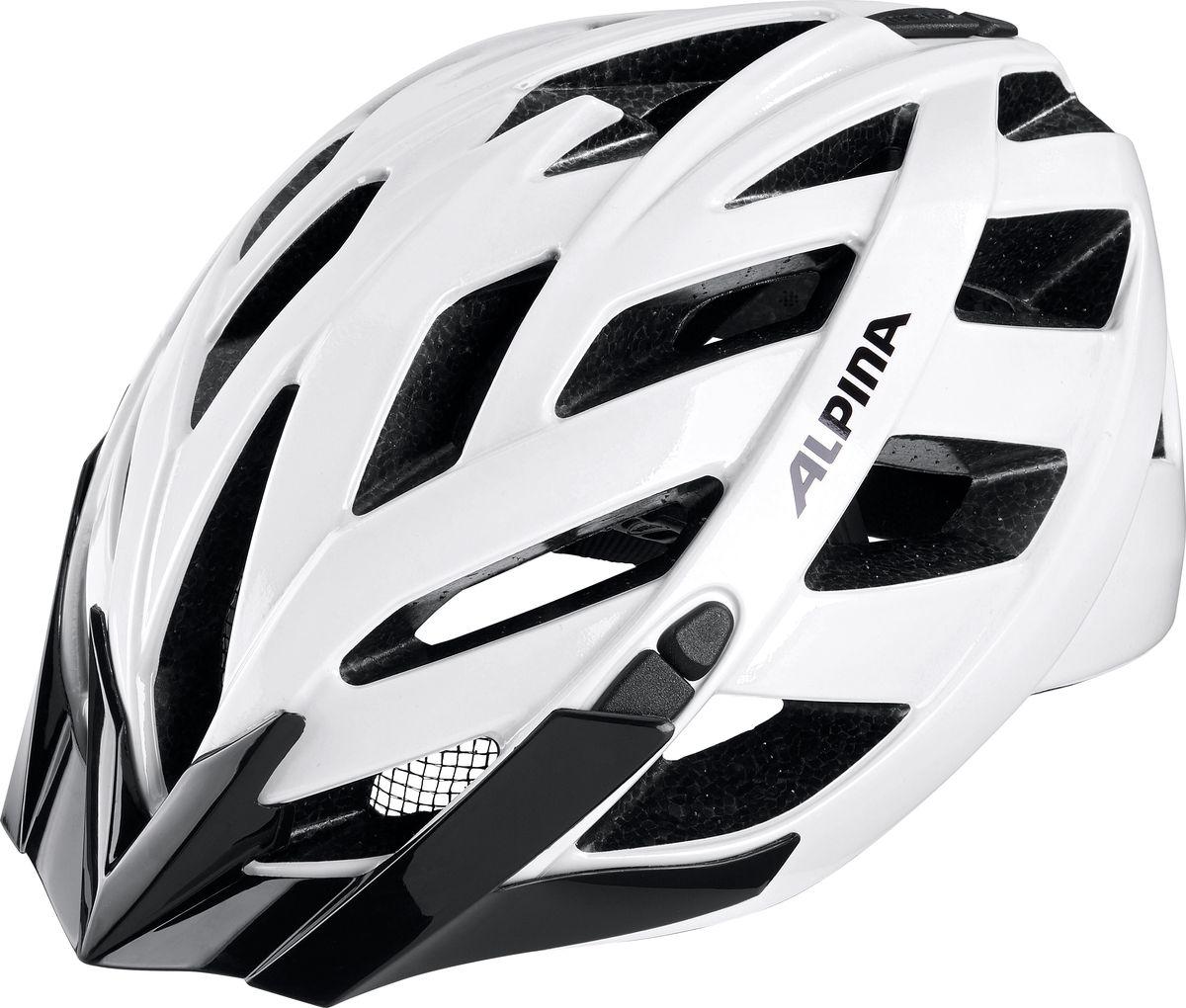 Шлем летний Alpina Panoma Classic, цвет: белый. A9703110. Размер 56/59Х66773Классический универсальный велосипедный шлем с превосходной посадкой. Panoma - верный компаньон в ежедневных поездках до работы и выездов по выходным. 23 вентиляционных отверстия.Безопасность:Оболочка InmoldПроизводственный процесс заключается в нагревании до высокой температуры внешней поликарбонатной оболочки и запекании ее на EPS-тело шлема под высоким давлением. Этот процесс создает неразрывную связь по всей поверхности между внутренней и внешней оболочками, благодаря этому шлем получается не только очень легким, но и чрезвычайно стабильным.Hi-EPSВнутренняя оболочка выполнена из Hi-EPS (вспениный полистирол). Этот материал состоит из множества микроскопических воздушных камер, которые эффективно поглощают силу удара. Hi-EPS обеспечивает оптимальную защиту в сочетании с экстратонкими стенками.CeramicМатериал объединяет несколько преимуществ: устойчив к ударам и царапинам, содержит ультрафиолетовые стабилизаторы и антистатичен.Эргономика:Run System ClassicЕсли вы используете свой велосипед для того, чтобы съездить по магазинам, вам не нужна сложная система регулировки. Система подгонки Run System Classic отвечает этим требованиям красивым, простым и надежным колесом регулировки. Система Run System Classic проста в использовании и держит шлем надежно, там где он должен быть - на голове.Y-ClipШлем может обеспечить правильную защиту, только если он остается на месте в случае удара. Крепление, которое соединяет две полоски под ухом имеет решающее значение в этом случае. Система Y-Clip Alpina гарантирует идеальную подгонку до последнего миллиметра за считанные секунды.ErgomaticПроверенная бесчисленное количество раз, эта пряжка используется во всех шлемах Alpina. Из особенностей: красная кнопка приводящая в действие механизм автоматической многоступенчатой регулировки. Пряжку можно расстегнуть или застегнуть одной рукой, так, например, вы можете ослабить ремень при езде в гору, и затянуть его с