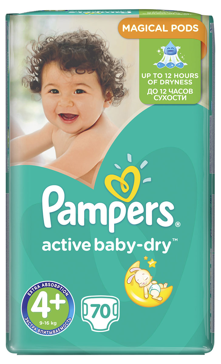 Pampers Подгузники Active Baby-Dry 9-16 кг (размер 4+) 70 шт