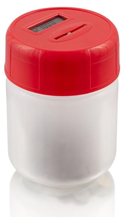 Электронная копилка MAX Сбербанка, цвет: красный41619Электронные Умные копилки - Лучшее изобретение для корпоративного подарка. Копилка умеет определять достоинство Российских монет, складывать в сумму накопления и демонстрировать ее на дисплее крышки.