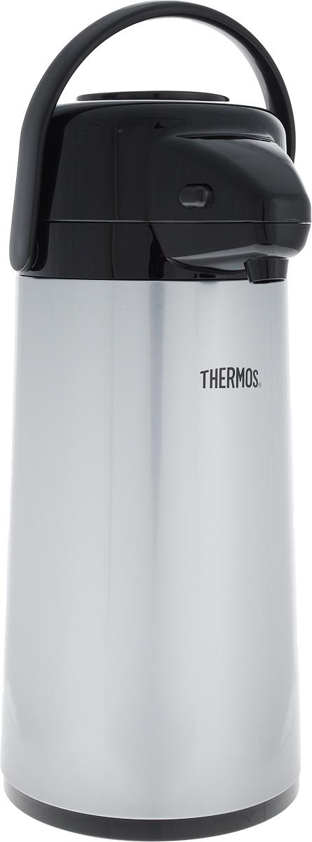 Термос Thermos, цвет: серый, черный, 1,9 л0003929Термос Thermos, изготовленный из нержавеющей стали, оснащен внутренней стеклянной колбой с двойными стенками. Термос является простым в использовании, экономичным и многофункциональным. Изделие оснащено удобной ручкой и помповым насосом. Термос предназначен для хранения горячих и холодных напитков (чая, кофе) и укомплектован крышкой с кнопкой. Такая крышка удобна в использовании и позволяет, не отвинчивая ее, наливать напитки после простого нажатия. Легкий и прочный термос Thermos сохранит ваши напитки горячими или холодными надолго.Диаметр: 4,5 см.Высота: 36 см.