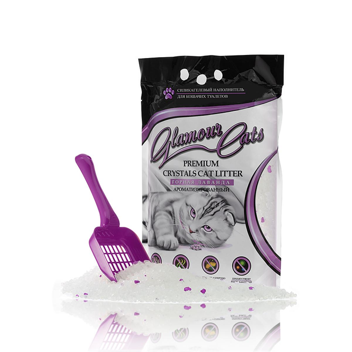 Наполнитель силикагелевый Glamour Cats лаванда, 3,8 л (1,7 кг)0120710Силикагель с добавкой ароматизаторов (лаванда)Ароматизированный силикагелевый наполнитель изготавливается из 100%натурального биологического вещества с добавлением природных ароматических кристаллов (лаванда). Микроструктура ароматизированного наполнителя поглощает до 100 % всего объема запаха, быстро впитывает жидкость, препятствует распространению БАКТЕРИЙ в лотке. Ароматизированные кристаллы сохраняют свежий аромат лаванды в течение всего время использования в лотке, что позволяет сохранить воздух в вашем доме чистым и свежим. Наполнитель безопасен для окружающей среды и не вызывает аллергии у людей и животных. Природный экстракт лаванды весьма любим подавляющим числом кошек. Особенности:1. Это революционный прорыв среди наполнителей, в нейтрализации и в контроле над запахом. Обладает способностью замыкать неприятные запахи внутри кристаллов. Выделение запахов из использованного наполнителя в 5 раз меньше по сравнению с лучшими наполнителями, что доказано лабораторными тестами. 2. Поглощающая способность высшего качества благодаря адсорбирующим свойствам и пористой структуре силикагеля. Кристаллы впитывают влагу в течение секунд и не допускают испарения в атмосферу. 3. Предотвращает рост бактерий. Обладает бактерицидными и дезинфицирующими свойствами, способствует устранению болезнетворных микроорганизмов и бактерий. 4. Безопасен. Экологически чистый продукт. Нетоксичен. Безвкусен, не вызывает аллергии. Не наносит загрязнений окружающей среде. 5. Экономичное потребление. Упаковки объемом 3, 8 литра хватает одной кошке на месяц. 6. Удобен в использовании. Кристаллическая форма гранул позволяет минимизировать разбрасывание. Мягкий для кошачьих лапок. Богатая пористая структура. Лоток вашего любимца всегда будет свеж и чист. Легко и удобно убирать. Ваша кошка легко привыкнет! Но если у неё возникнут трудности, попробуйте в течение 1 недели смешивать новый наполнитель с тем, которым Вы пользовались 