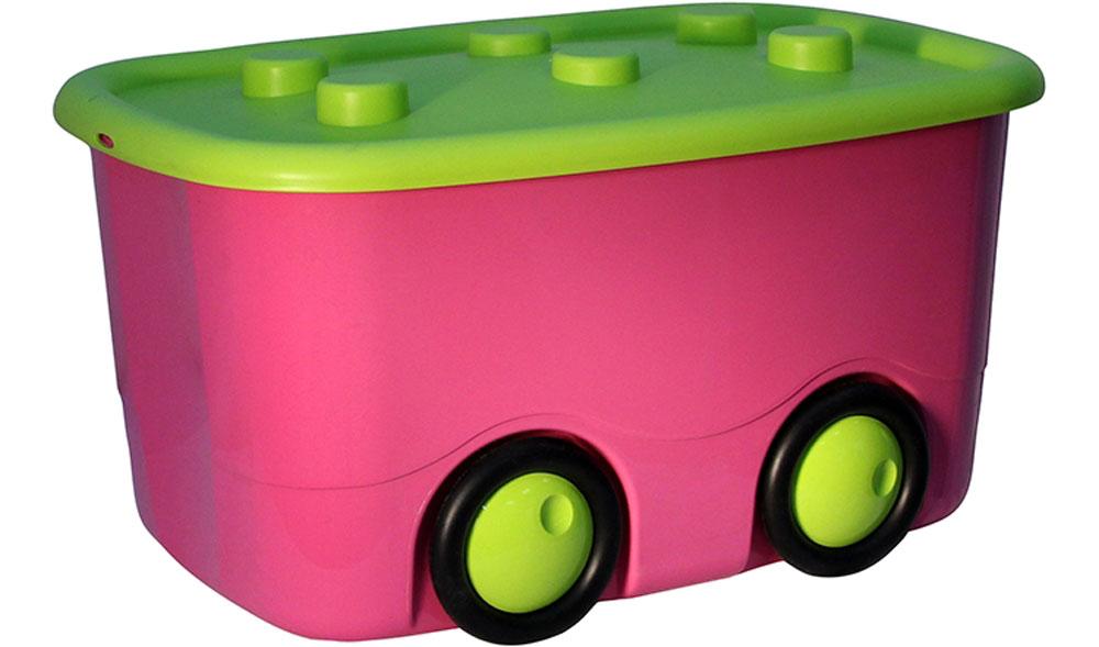 Idea Ящик для игрушек Моби цвет малиновый 41,5 х 60 х 32 см1004900000360Ящик для игрушек Idea Моби - лучшее решение для поддержания порядка в детской. Все игрушки собраны в одном месте, а ящик всегда можно с легкостью переместить благодаря четырем колесам. Детский ящик для хранения игрушек имеет надежную крышку.