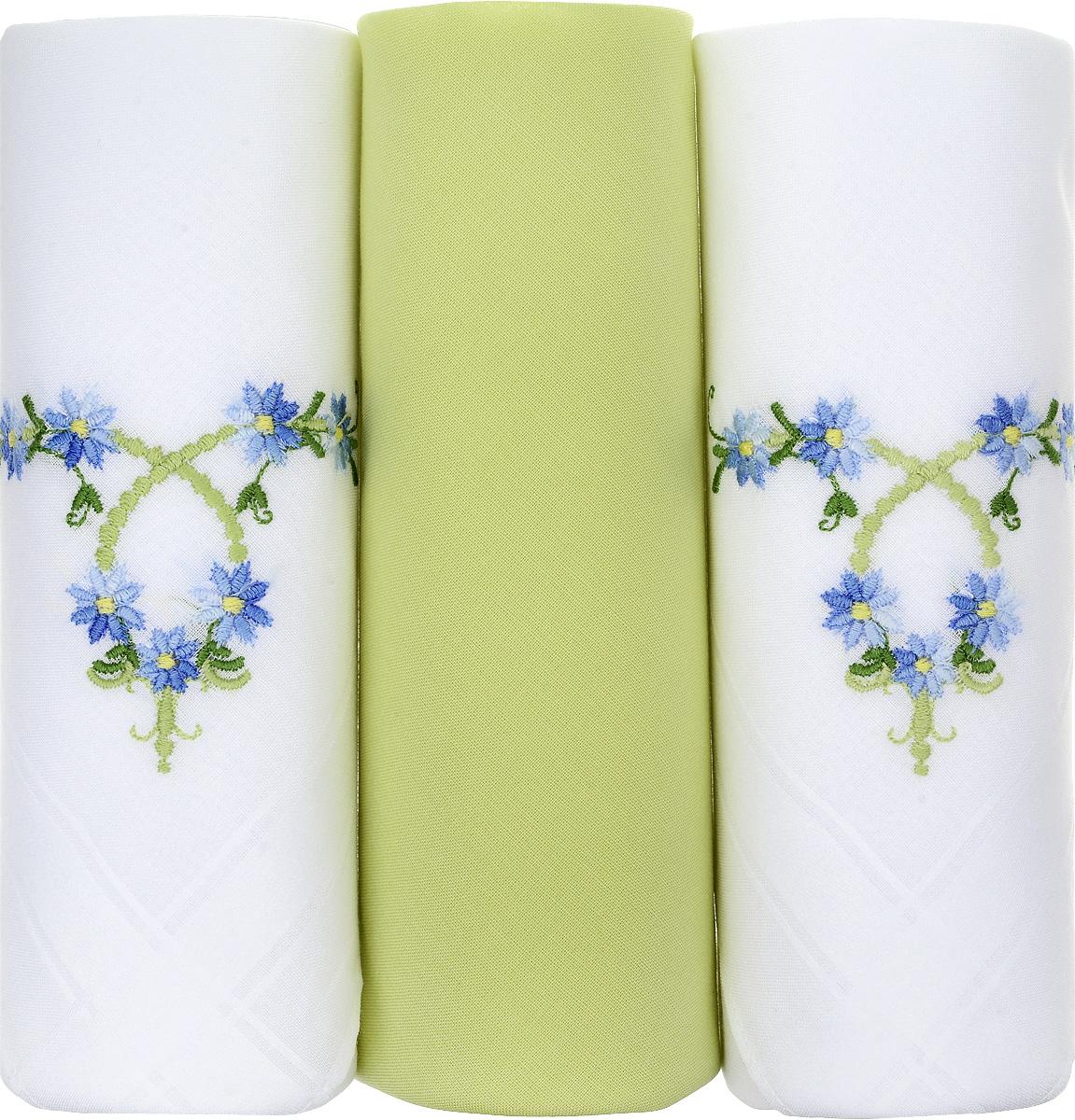 Платок носовой женский Zlata Korunka, цвет: белый, салатовый, 3 шт. 25605-1. Размер 30 см х 30 см39864|Серьги с подвескамиНебольшой женский носовой платок Zlata Korunka изготовлен из высококачественного натурального хлопка, благодаря чему приятен в использовании, хорошо стирается, не садится и отлично впитывает влагу. Практичный и изящный носовой платок будет незаменим в повседневной жизни любого современного человека. Такой платок послужит стильным аксессуаром и подчеркнет ваше превосходное чувство вкуса.В комплекте 3 платка.
