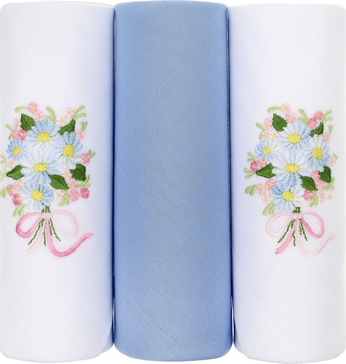 Платок носовой женский Zlata Korunka, цвет: белый, голубой. 25605-7. Размер 30 х 30 см, 3 штБрелок для сумкиНосовой платок Zlata Korunka изготовлен из высококачественного натурального хлопка, благодаря чему приятен в использовании, хорошо стирается, не садится и отлично впитывает влагу. Практичный и изящный носовой платок будет незаменим в повседневной жизни любого современного человека. Такой платок послужит стильным аксессуаром и подчеркнет ваше превосходное чувство вкуса. В комплекте 3 платка.