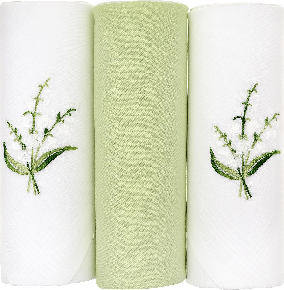 Платок носовой женский Zlata Korunka, цвет: белый, салатовый, 3 шт. 25605-12. Размер 30 см х 30 смСерьги с подвескамиНебольшой женский носовой платок Zlata Korunka изготовлен из высококачественного натурального хлопка, благодаря чему приятен в использовании, хорошо стирается, не садится и отлично впитывает влагу. Практичный и изящный носовой платок будет незаменим в повседневной жизни любого современного человека. Такой платок послужит стильным аксессуаром и подчеркнет ваше превосходное чувство вкуса.В комплекте 3 платка.