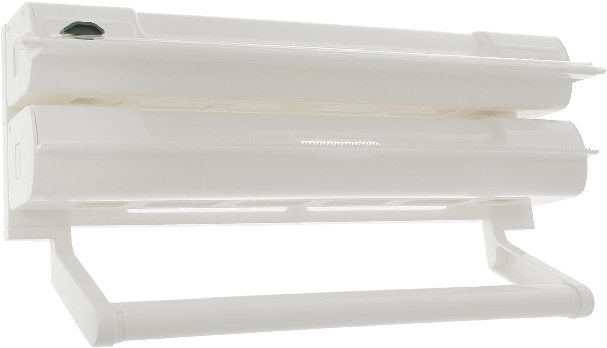 Органайзер кухонный Tescoma On Wall. 3 в 1, 38 х 8 х 19 см4612750750133Органайзер кухонный Tescoma On Wall. 3 в 1 выполнен из высококачественного пластика. Изделие применяется для хранения и использования пищевой пленки, алюминиевой фольги и бумажных полотенец. Размещается на стене. Диспенсеры для пищевой пленки и алюминиевой фольги можно извлечь из органайзера и использовать отдельно. Конец пленки не прилипает к диспенсеру. В комплекте прилагаются инструкция по установке и крепежи.Общий размер органайзера: 38 х 8 х 19 см