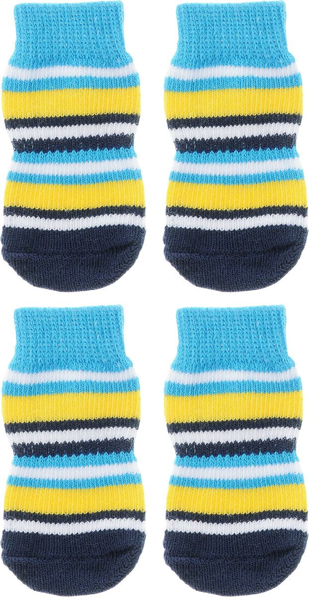 Носки для собак Каскад, цвет: голубой, желтый, темно-синий, 4 шт. Размер S0120710Носки Каскад предназначены для собак. Изделия выполнены из прочной ткани. Носки снабжены прорезиненной подошвой для того, что бы ваш питомец мог без проблем бегать по скользкой поверхности. Носки имеют удобную резинку, которая будет плотно прилегать к ноге питомца. Носки будут служить защитой лап от истирания о твердое покрытие и предохранять лапу после травмы. Конструкция носка анатомически повторяет строение лапы.Размер носка: 2,5 х 6 см.Количество: 4 шт.