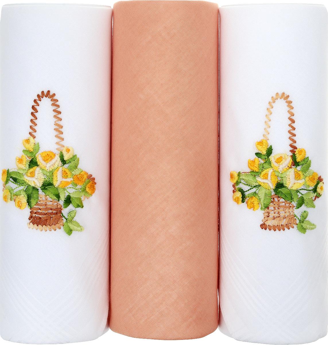Платок носовой женский Zlata Korunka, цвет: белый, оранжевый. 25605-10. Размер 30 х 30 см, 3 шт39864|Серьги с подвескамиНосовой платок Zlata Korunka изготовлен из высококачественного натурального хлопка, благодаря чему приятен в использовании, хорошо стирается, не садится и отлично впитывает влагу. Практичный и изящный носовой платок будет незаменим в повседневной жизни любого современного человека. Такой платок послужит стильным аксессуаром и подчеркнет ваше превосходное чувство вкуса. В комплекте 3 платка.