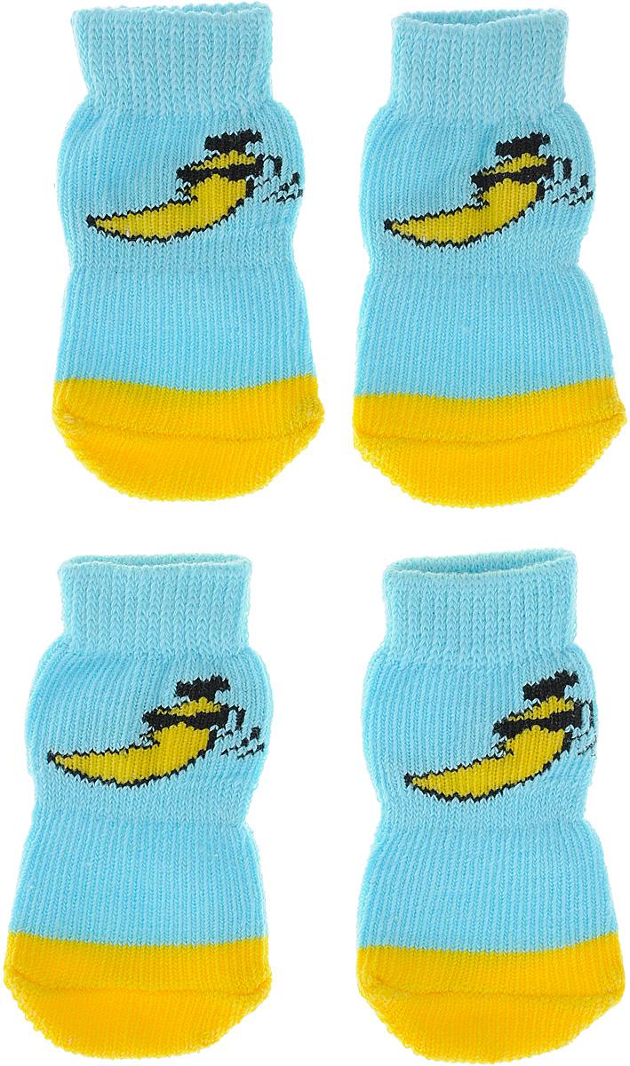 Носки для собак Каскад, цвет: голубой, желтый, 4 шт. Размер S0120710Носки Каскад предназначены для собак. Изделия выполнены из прочной ткани. Носки снабжены прорезиненной подошвой для того, что бы ваш питомец мог без проблем бегать по скользкой поверхности. Носки имеют удобную резинку, которая будет плотно прилегать к ноге питомца. Носки будут служить защитой лап от истирания о твердое покрытие и предохранять лапу после травмы. Конструкция носка анатомически повторяет строение лапы.Размер носка: 2,5 х 6 см.Количество: 4 шт.