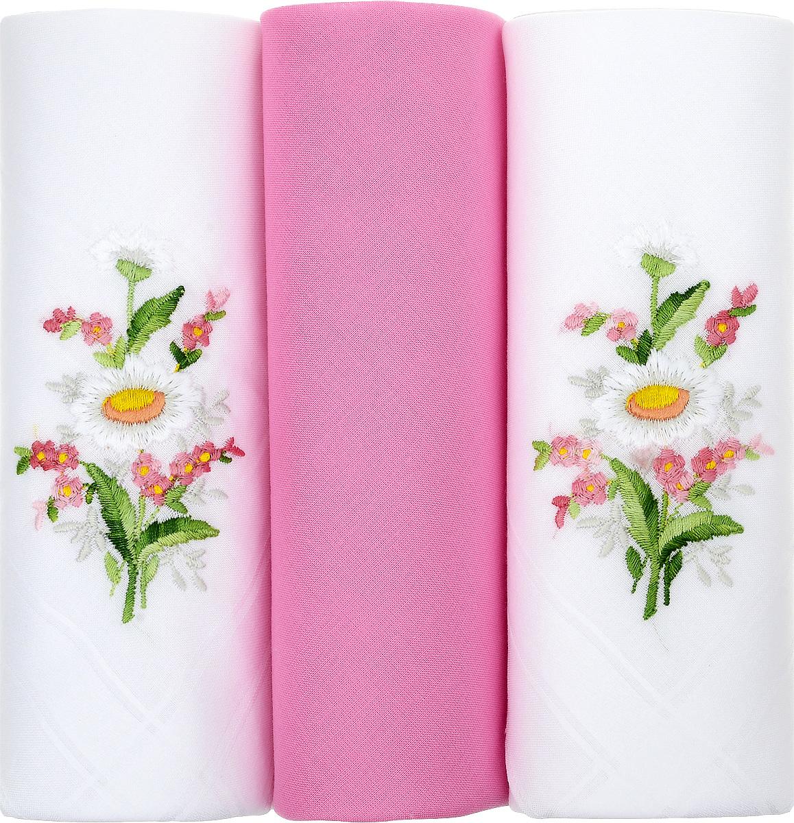Платок носовой женский Zlata Korunka, цвет: белый, розовый, 3 шт. 25605-20. Размер 29 см х 29 см39864|Серьги с подвескамиНебольшой женский носовой платок Zlata Korunka изготовлен из высококачественного натурального хлопка, благодаря чему приятен в использовании, хорошо стирается, не садится и отлично впитывает влагу. Практичный и изящный носовой платок будет незаменим в повседневной жизни любого современного человека. Такой платок послужит стильным аксессуаром и подчеркнет ваше превосходное чувство вкуса.В комплекте 3 платка.