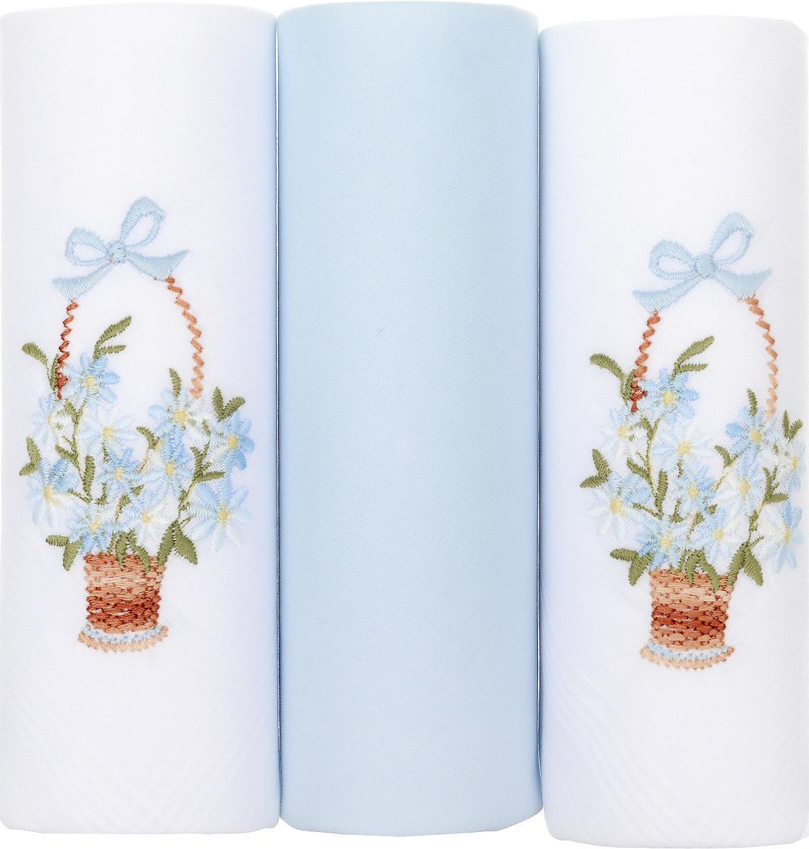 Платок носовой женский Zlata Korunka, цвет: белый, голубой, 3 шт. 25605-17. Размер 29 см х 29 смАжурная брошьНебольшой женский носовой платок Zlata Korunka изготовлен из высококачественного натурального хлопка, благодаря чему приятен в использовании, хорошо стирается, не садится и отлично впитывает влагу. Практичный и изящный носовой платок будет незаменим в повседневной жизни любого современного человека. Такой платок послужит стильным аксессуаром и подчеркнет ваше превосходное чувство вкуса.В комплекте 3 платка.