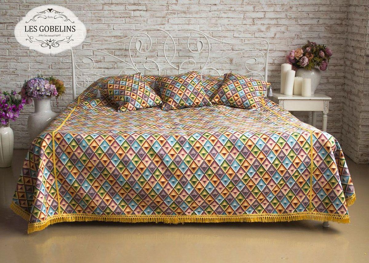 Покрывало на кровать Les Gobelins Kaleidoscope, 240 х 260 смES-412Покрывало на кровать Les Gobelins Kaleidoscope с ярким геометрическим рисунком привлечет к себе внимание и органично впишется в интерьер комнаты. Изделие изготовлено из высококачественной ткани гобелен и оформлено бахромой и кисточками. Необычайная красота сочетается в этом покрывале с высокой прочностью и долговечностью, а свойство гобелена по-разному проявлять себя в зависимости от освещения помещения позволяет открывать все новые и новые детали, которые, как казалось, раньше скрывал гобелен.Красочное и приятное на ощупь покрывало сделает интерьер спальни, детской или гостиной уютнее и своеобразнее. Состав материала: 50% хлопок, 50% полиэстер.